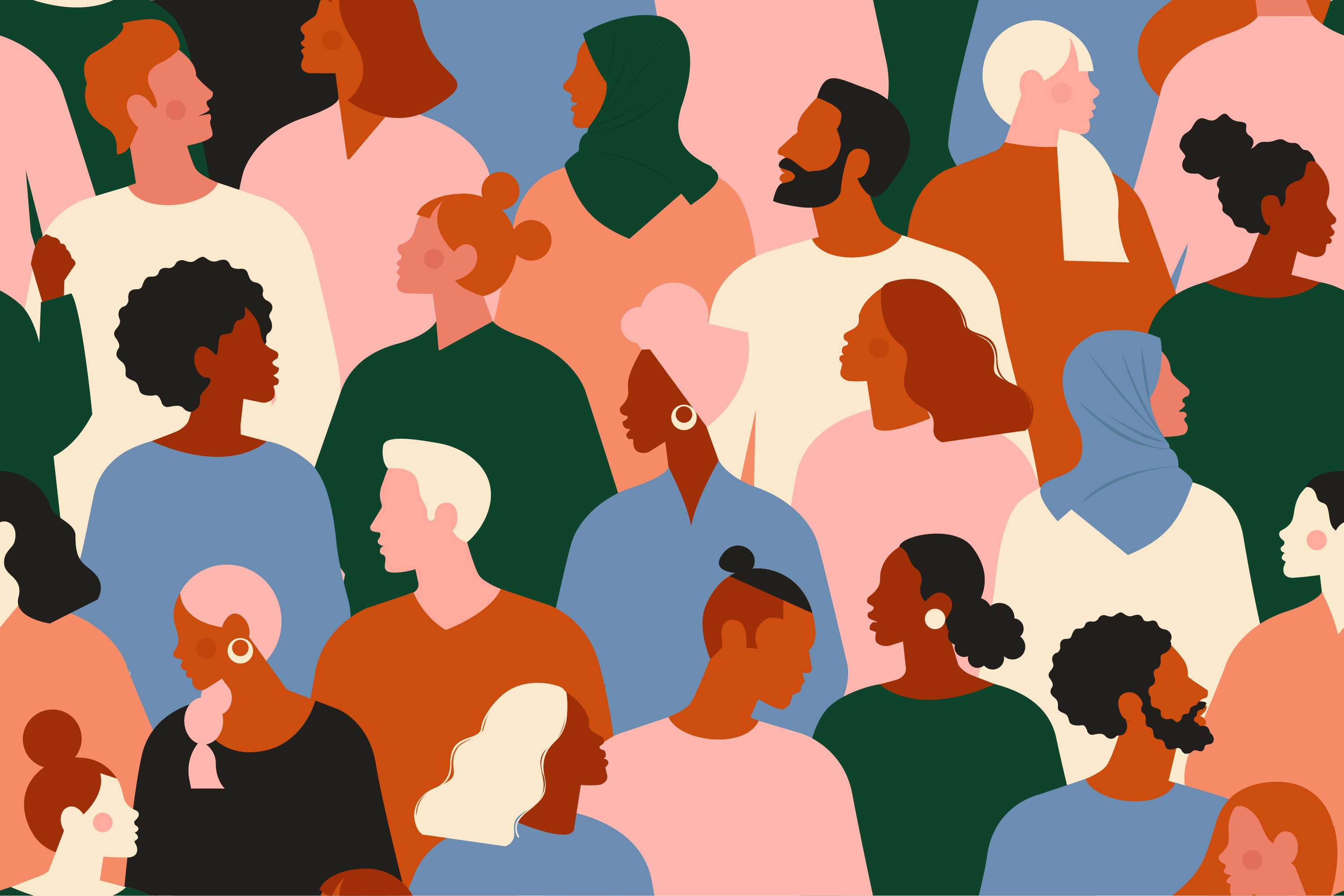 illustration of multiple diverse people