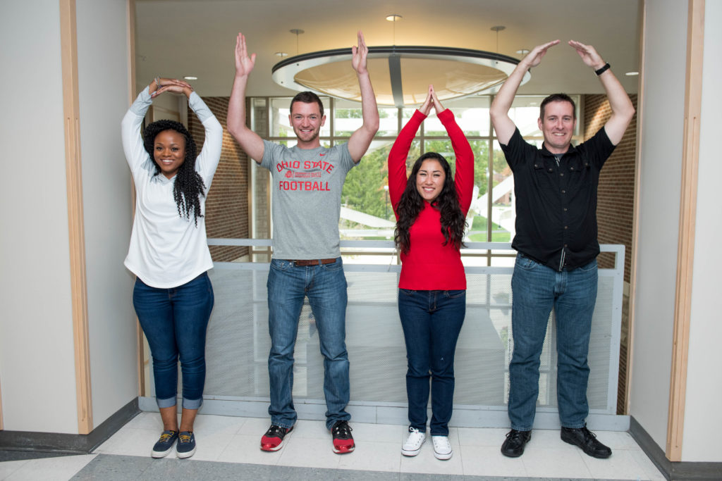 students making the letters O-H-I-O with arms