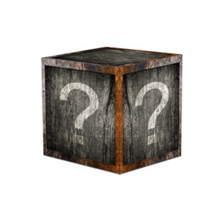 Wooden mystery box with question marks.