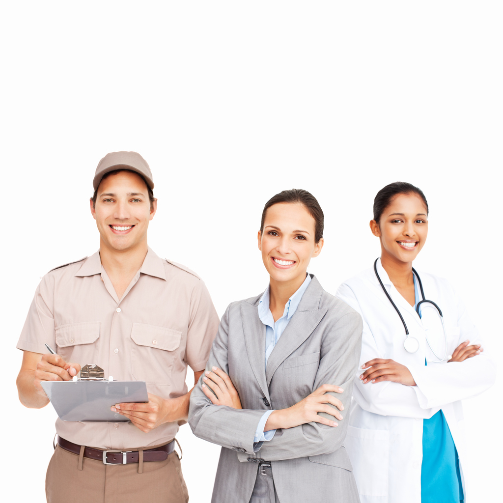 A trio of smiling people in various occupations is standing and looking at the camera. Square shot. Isolated on white.