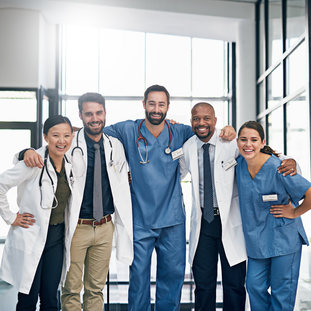 Portrait of a diverse team of doctors working together in a medical institution