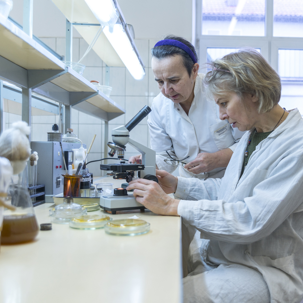 Two scientists, both women, working together in a laboratory.