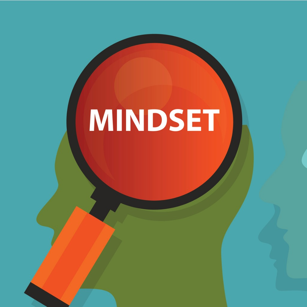 "a magnifying glass held up to an animated figure showing the word ""mindset"""