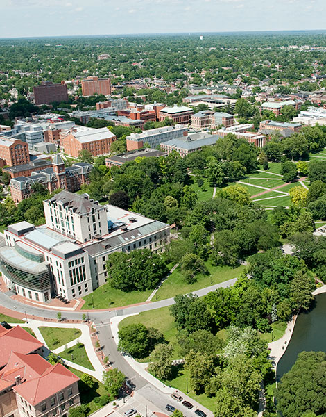 birds eye view of the Oval and Ohio State's north campus